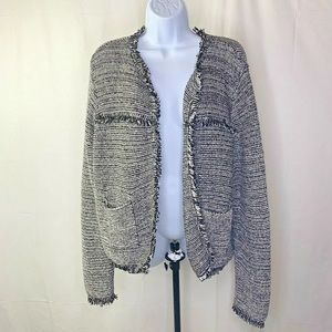 Chicos Size 2 Cardigan Sweater Black White Gray